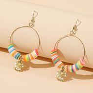 Korean bead earrings simple round multicolor flower soft ceramic earrings trend handmade beaded earrings women NHLA232914
