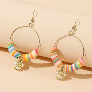 Korean bead earrings simple round multicolor flower soft ceramic earrings trend handmade beaded earrings women NHLA232914's discount tags