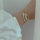 Baroque  freshwater pearl brass opening bracelet shaped handmade pearl string bracelet  nihaojewelry wholesale   NHYQ232920