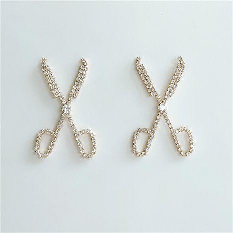 pendientes de tijeras de diamantes de imitación de moda para mujer nuevos pendientes de diamantes coreanos NHVA232939's discount tags
