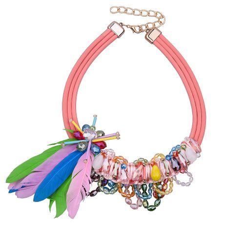 fashion handmade ribbon woven pearl necklace multi-layer crystal multi-color mixed batch necklace nihaojewelry wholesale NHVA232942's discount tags