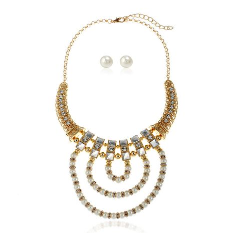 fashion new popular  exaggerated pearl  necklace and simple  earrings  set  nihaojewelry wholesale NHVA232945's discount tags