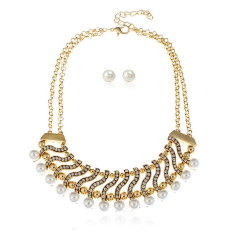 fashion handmade pearl alloy necklace clothing accessories exaggerated necklace earrings set nihaojewelry wholesale  NHVA232946's discount tags