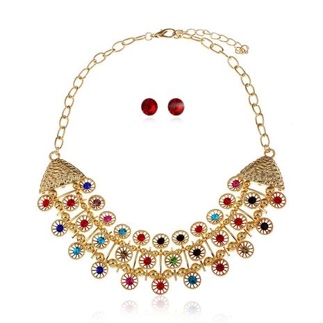 fashion  retro inlaid gemstone ladies exaggerated earrings necklace earrings set  wholesale NHVA232948's discount tags