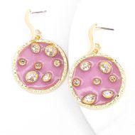 fashion alloy round resin diamond super flash S925 silver needle hypoallergenic earrings  NHJE232954