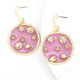 fashion alloy round resin diamond super flash S925 silver needle hypoallergenic earrings  NHJE232954's discount tags
