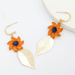 Exaggerated alloy diamonds acrylic flowers earrings fashion leaves earrings women retro elegant earrings  NHJE232955's discount tags