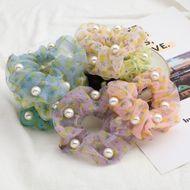 Fashion summer fruit wind pineapple print organza inlaid pearl Korean hair scrunchies hair jewelry NHJE232956