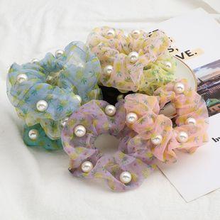 Fashion summer fruit wind pineapple print organza inlaid pearl Korean hair scrunchies hair jewelry NHJE232956's discount tags