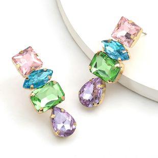Fashion Color Diamond Geometric Glass Earrings colorful Diamond Earrings Girl long earrings NHJE232957's discount tags