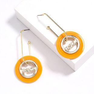 simple geometric resin alloy letter earrings fashion women's hoop earrings wholesale NHJE232958's discount tags