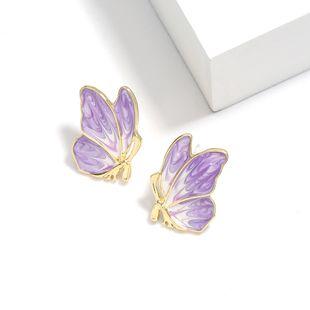 Korea sweet girl heart alloy oil drop butterfly S925 silver needle earrings women's animal stud earrings  NHJE232959's discount tags