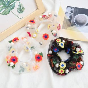fashion sexy chiffon fabric cotton thread flowers pearl hair scrunchies inlaid pearl Korean hair circle hair rope NHJE232960's discount tags