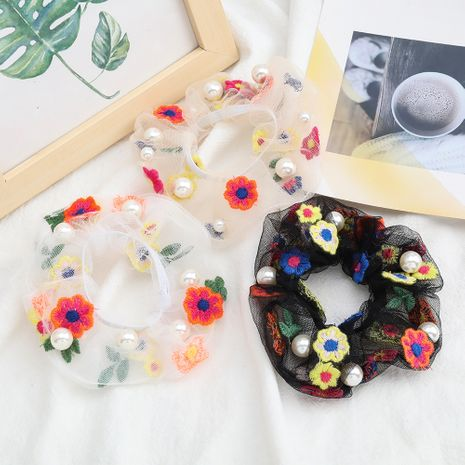 fashion sexy chiffon fabric cotton thread flowers pearl hair scrunchies inlaid pearl Korean hair circle hair rope NHJE232960's discount tags