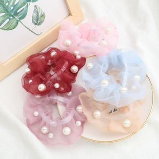 Korean solid color organza hair scrunchies fabric inlaid pearls Korean hair ring fairy large intestine ring head jewelry NHJE232961's discount tags