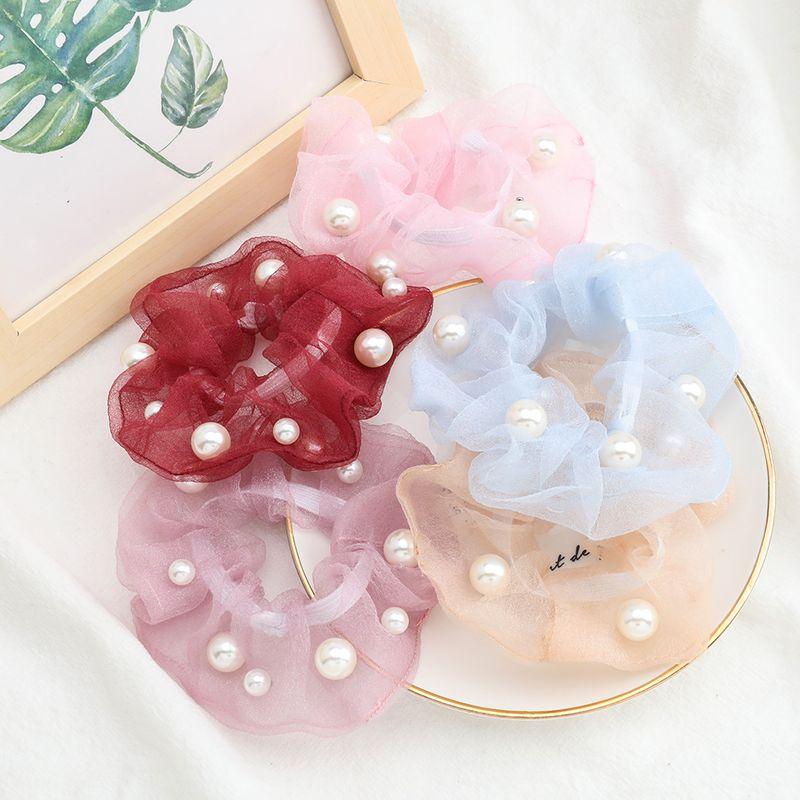 Korean solid color organza hair scrunchies fabric inlaid pearls Korean hair ring fairy large intestine ring head jewelry NHJE232961