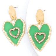 fashion alloy love heart-shaped earrings resin diamond super flash S925 silver needle earrings wholesale NHJE232962