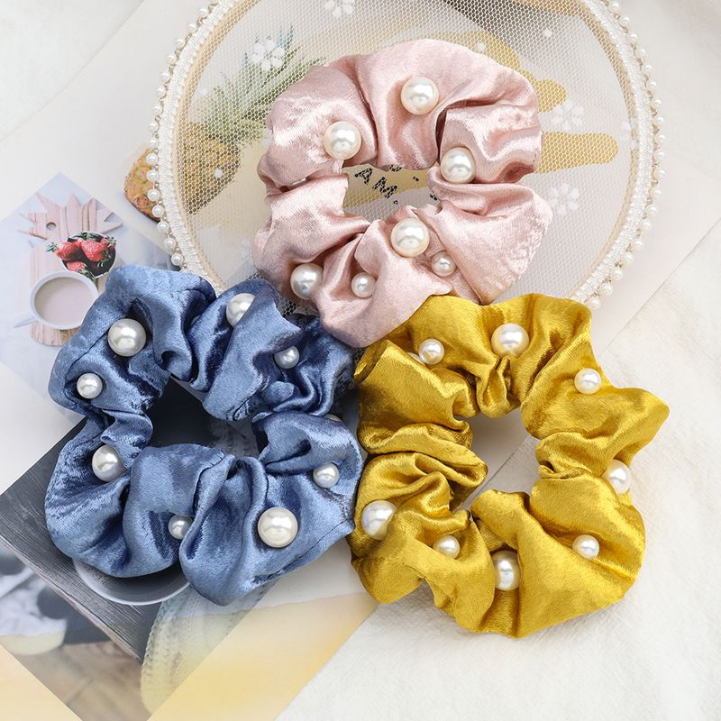 hot sale hair scrunchies fashion solid color super flash fabric cloth inlaid pearl Korean hair ring high elastic hair rope headdress NHJE232963