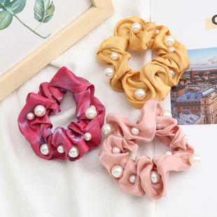 fashion shiny gold thread hair scrunchies fabric inlaid pearls Korean hair ring high elastic hair rope large intestine ring hair accessories NHJE232964's discount tags