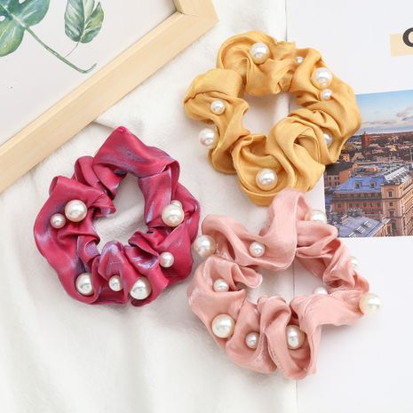 fashion shiny gold thread hair scrunchies fabric inlaid pearls Korean hair ring high elastic hair rope large intestine ring hair accessories NHJE232964's discount tags