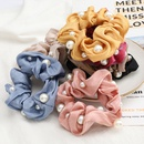 fashion shiny gold thread hair scrunchies fabric inlaid pearls Korean hair ring high elastic hair rope large intestine ring hair accessories NHJE232964