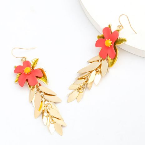 fashion exaggerated alloy spray paint flowers earrings multilayer leaf earrings retro trend super fairy ear jewelry NHJE232965's discount tags