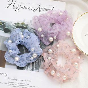 fashion hair scrunchies simple star printing organza fabric inlaid pearl Korean hair ring elastic hair rope NHJE232967's discount tags
