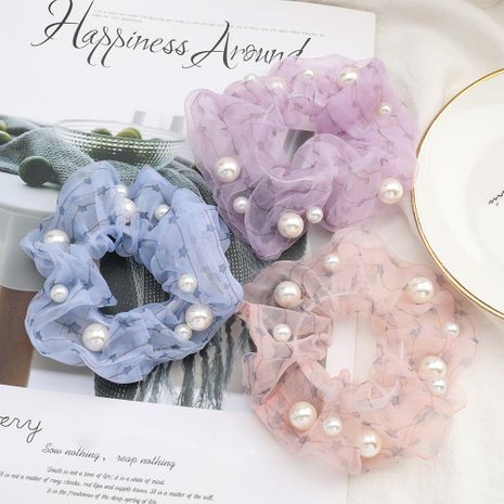fashion hair scrunchies simple star printing organza fabric inlaid pearl Korean hair ring elastic hair rope NHJE232967's discount tags