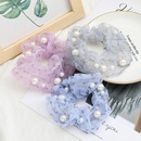 fashion hair scrunchies simple star printing organza fabric inlaid pearl Korean hair ring elastic hair rope NHJE232967