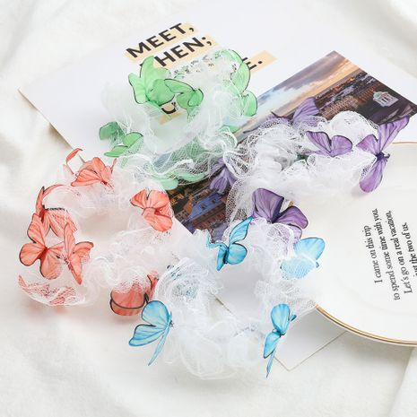 cartoon butterfly hair scrunchies silhouette chiffon fabric Korean hair circle girl heart headdress NHJE232968's discount tags