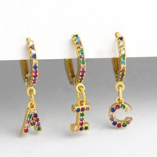 clip earrings 26 alphabet earrings micro-set color zircon alphabet ear clips women NHAS232969's discount tags
