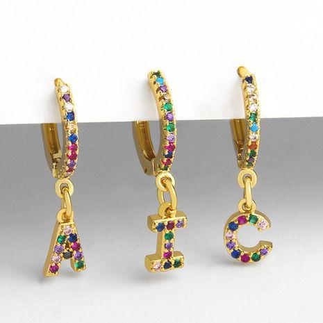 pendientes de clip 26 pendientes de alfabeto microconjunto color circón alfabeto clips de oreja mujeres NHAS232969's discount tags