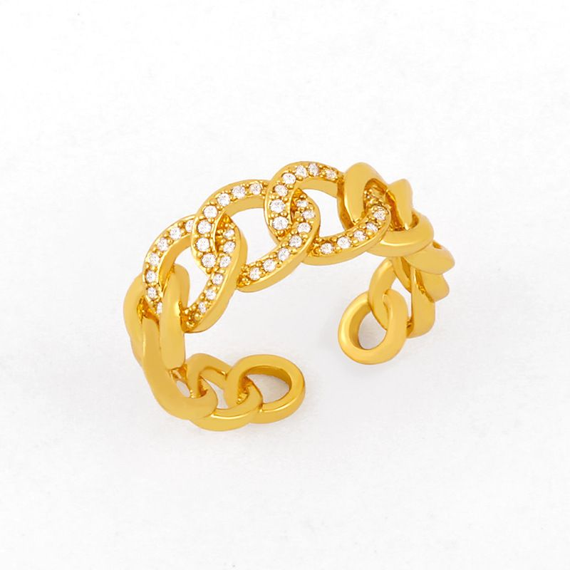 fashion hiphop ring zircon microinlaid rings womens hollow chain ring wholesale NHAS232973