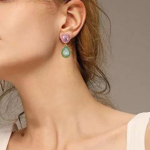 new inlaid diamond heart-shaped water drop earrings creative retro simple crystal earrings NHMD232984's discount tags
