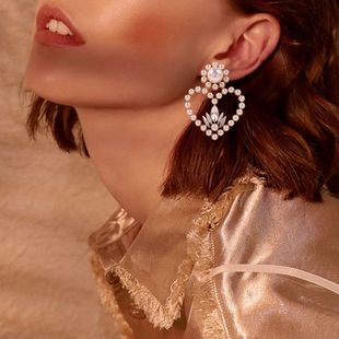 wholesale heart-shaped earrings fashion wild heart-shaped earrings diamond earrings women NHMD232985's discount tags