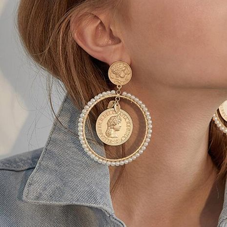 hot selling geometric round earrings fashion women's exaggerated imitation pearl earrings metallic earrings NHMD232986's discount tags