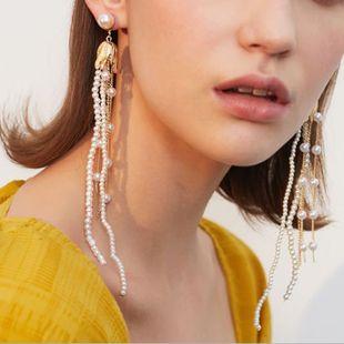 Korea white pearl earrings tassel earrings fashion women's long earrings wholesale NHMD232988's discount tags
