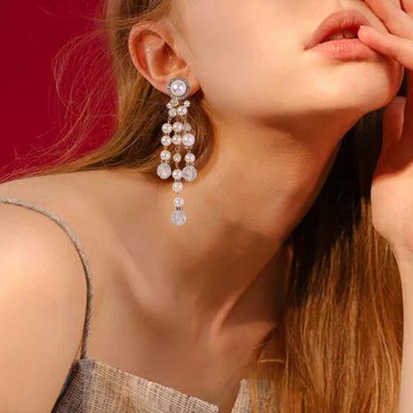pendientes largos de perlas de imitación de moda pendientes largos de las mujeres al por mayor NHMD232989's discount tags