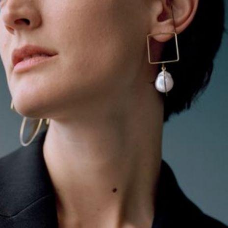 Gotas de agua coreana en capas pendientes de perlas al por mayor simple aleación geométrica pendientes de niña nihaojewelry NHMD232990's discount tags