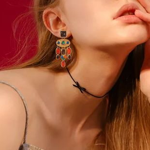 hot sale exaggerated creative gem earrings wholesale fashion women's long dress earrings NHMD232991's discount tags