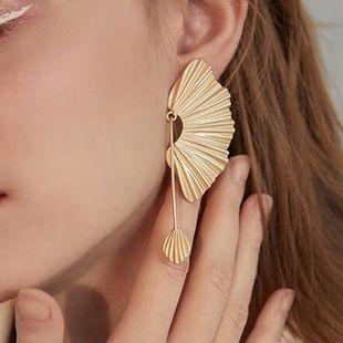 Exaggerated Oversized Fan Earrings Wholesale Women's Stud Earrings Leaf Earrings Long Retro Earrings  NHMD232992's discount tags