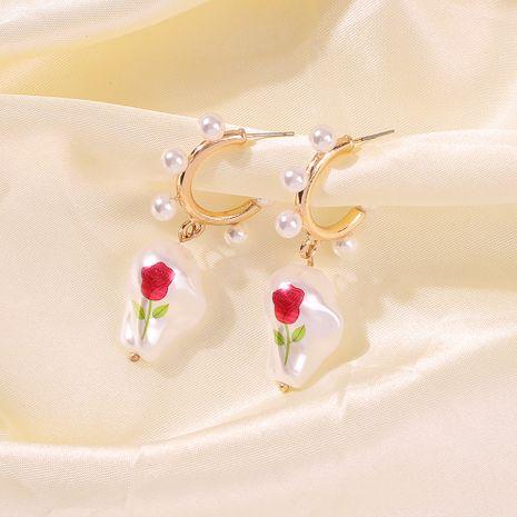 Pendientes de perlas barrocas Pendientes geométricos de moda Pendientes de perlas de imitación rosa Pendientes geométricos NHMD232993's discount tags