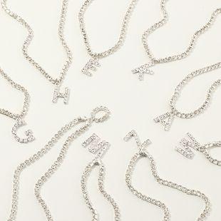 fashion new popular wild 26 English alphabet necklace full diamond choker necklace nihaojewelry wholesale  NHNZ232996's discount tags