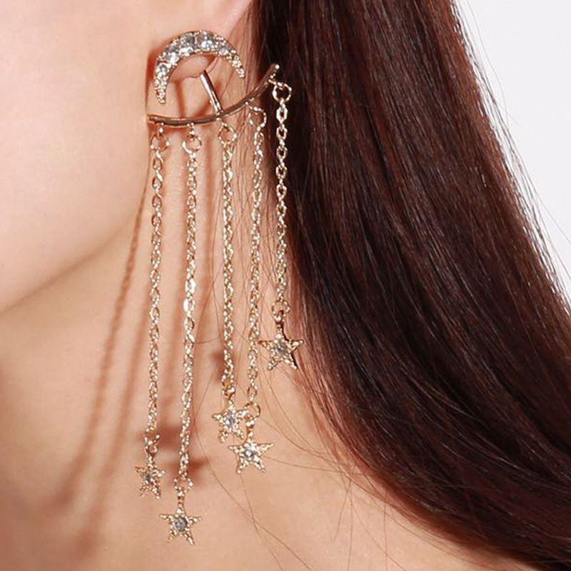 retro fashion new  palace long tassel earrings  simple personality  star moon diamond earrings nihaojewelry wholesale NHKQ232997