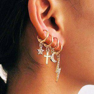 Fashion Retro Personality Creative Design Alloy 4 Piece Set  Diamond Lightning Moon Star Cross Earrings set nihaojewelry wholesale  NHKQ233000's discount tags