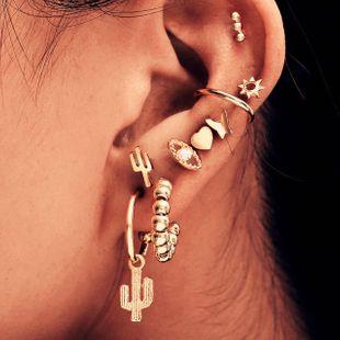 9 piece set simple  small metal trend earrings  Korean fashion retro love cactus butterfly diamond earrings nihaojewelry wholesale  NHKQ233002's discount tags