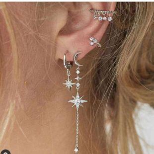 Retro simple fashion temperament wild 4-piece earrings new diamond-set stars and moon asymmetric earrings nihaojewelry wholesale  NHKQ233003's discount tags