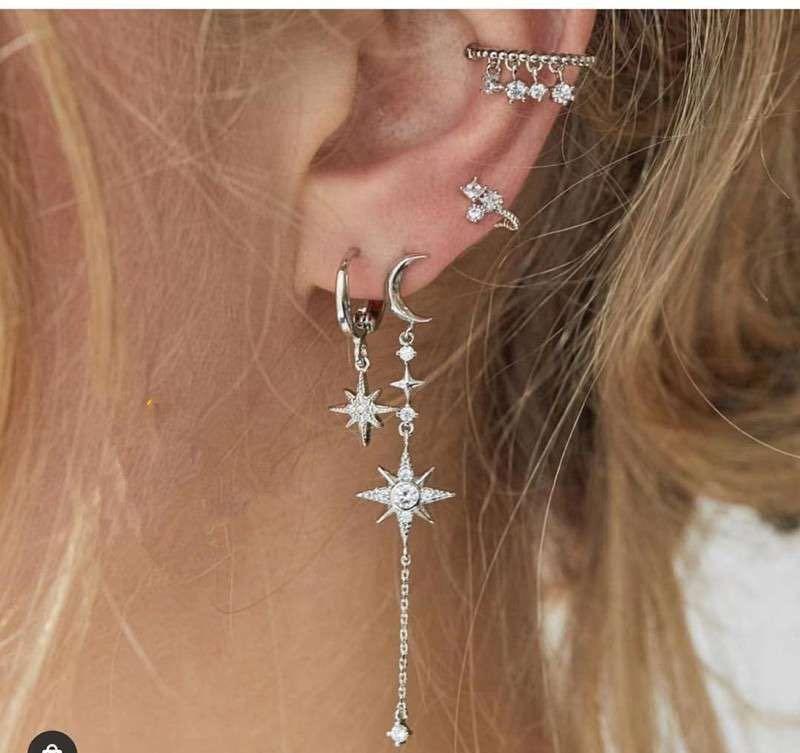 Retro simple fashion temperament wild 4-piece earrings new diamond-set stars and moon asymmetric earrings nihaojewelry wholesale  NHKQ233003