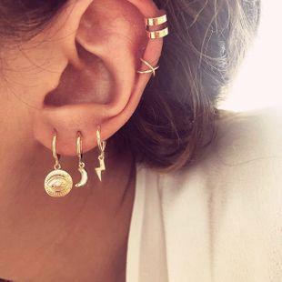 fashion new  temperament simple trend alloy earrings retro diamond lightning moon geometry 5 piece earrings  set nihaojewelry wholesale  NHKQ233004's discount tags