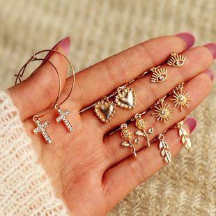 Moda nueva flor de moda simple amor deja 7 piezas set pendientes nihaojewelry al por mayor NHKQ233005's discount tags